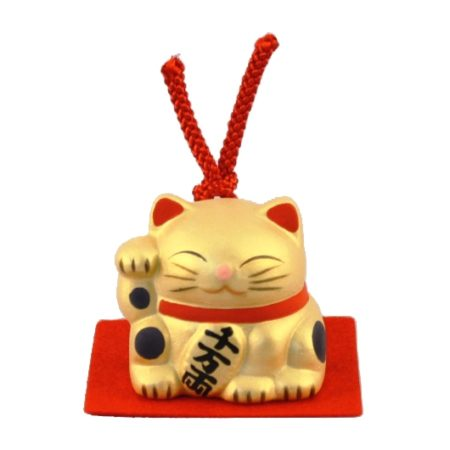 Maneki-neko unglazed ceremics bell gold