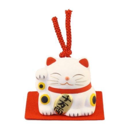 Maneki-neko unglazed ceremics bell white