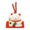 Maneki-neko unglazed ceremics bell white