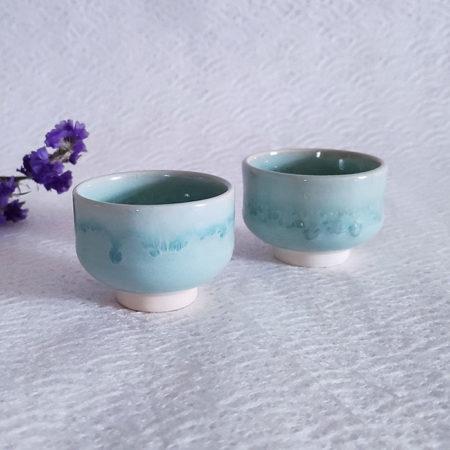 Kiyomizu-ware-handmade-Sake-pair-cups-green