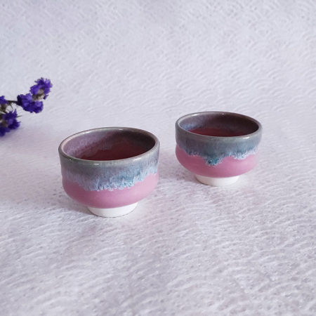 Kiyomizu ware handmade Sake pair cups pink