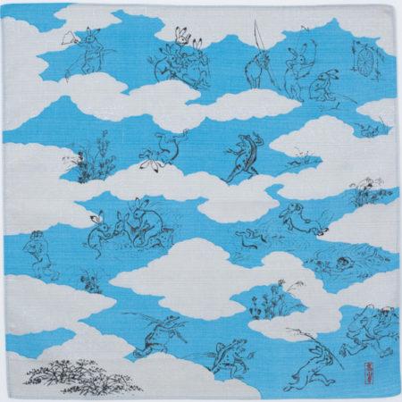 50cm Furoshiki Choju-jinbutsugiga blue