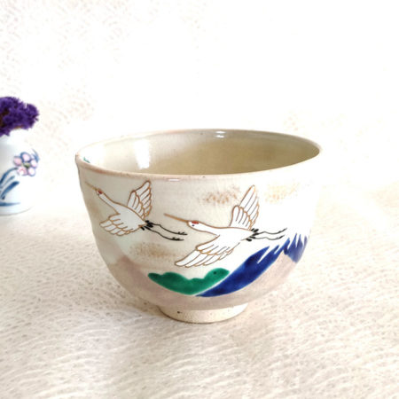 Vintage-Handmade-Matcha-bowl-Tsuru-Fuji