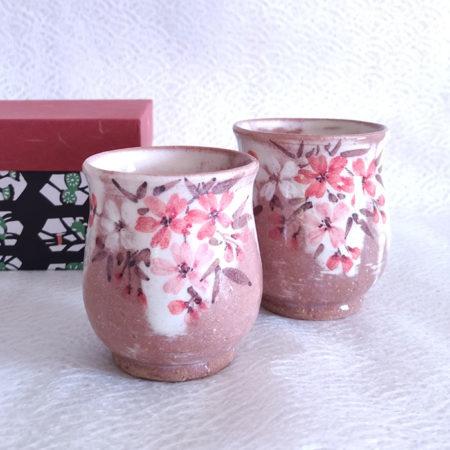 Handmade Yunomi Tea Cups Pair Akebono Sakura