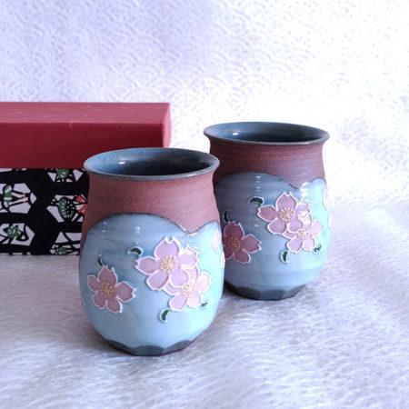 Handmade-Yunomi-Tea-Cups-Pair-Yakishime-Sakura