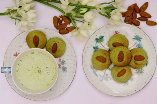 Almond Matcha biscuits250grms 2l