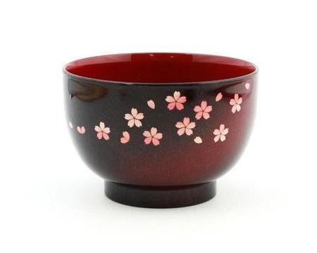 Lacquer soup bowl Sakura 1